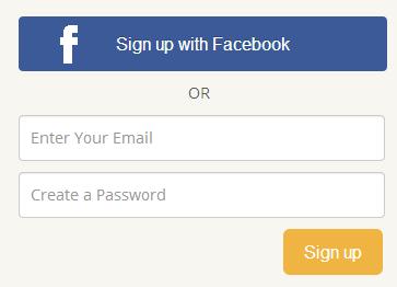 sign up through facebook