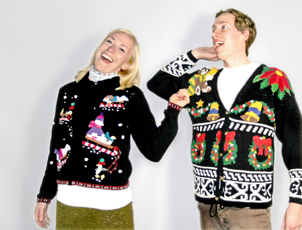 Most thrift stores will be stocked full of ugly Christmas sweaters once they clear out their Halloween inventory. If you want to make participating in ugly