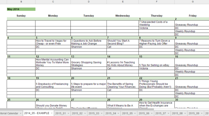 Free 2015 Editorial Calendar in Google Spreadsheets for Bloggers