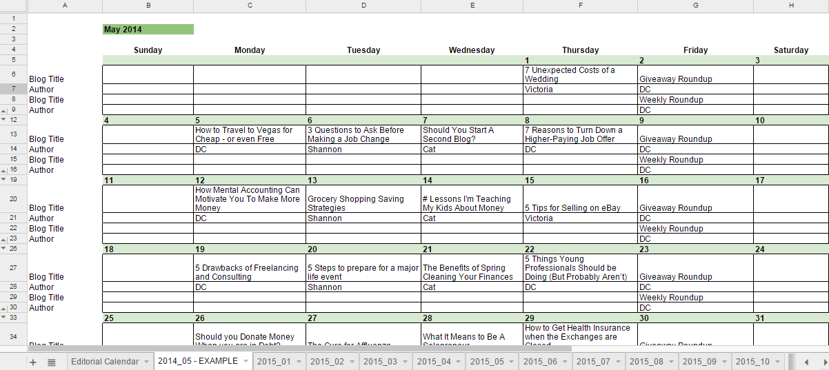 Free 2015 Editorial Calendar in Google Spreadsheets for Bloggers – Sample 2015 Calendar