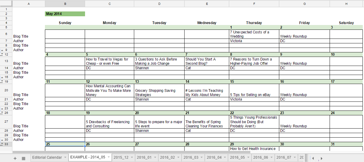 Free 2016 Editorial Calendar in Google Spreadsheets | Young Adult ...