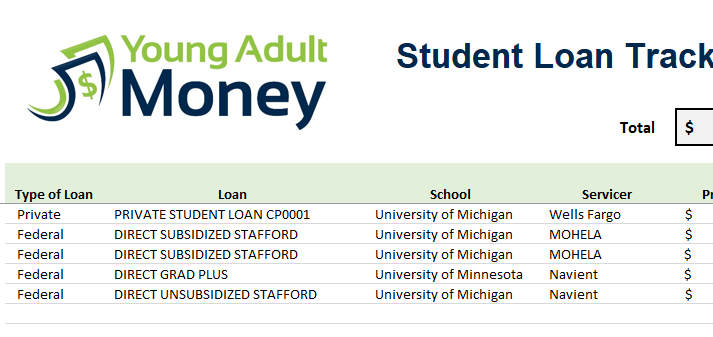 use this spreadsheet to track your student loans young adult money. Black Bedroom Furniture Sets. Home Design Ideas