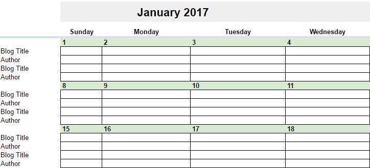 Blank Editorial Calendar 2017