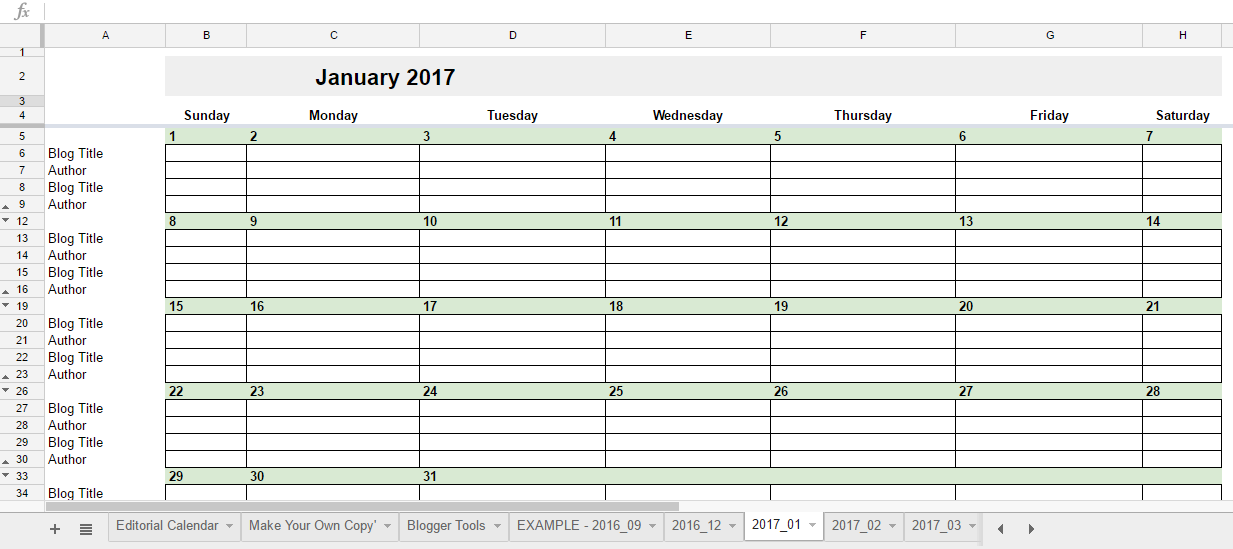 free 2017 editorial calendar in google spreadsheets With google sheet calendar template 2017