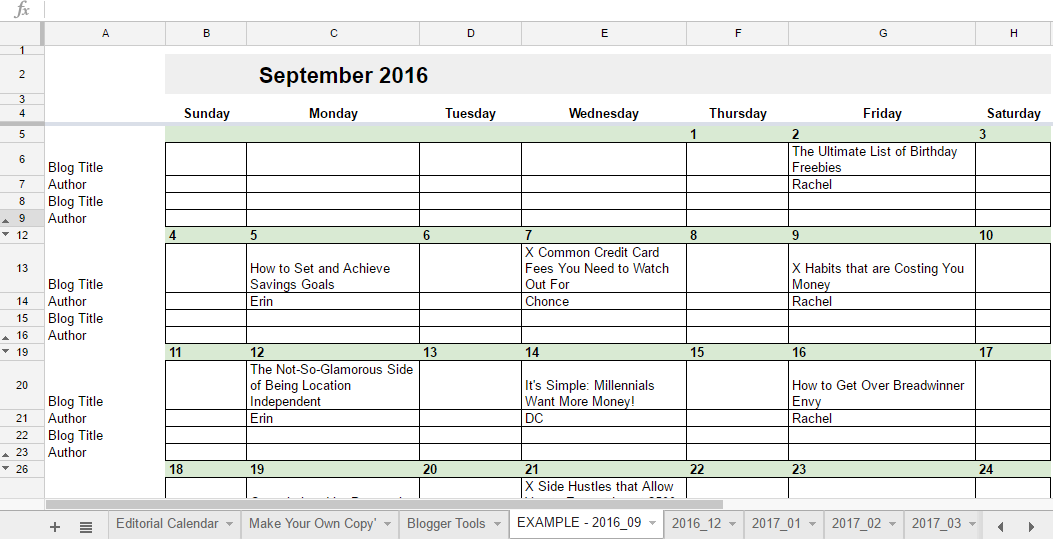 Google Sheets Weekly Calendar : Editorial calendar in google sheets young adult money