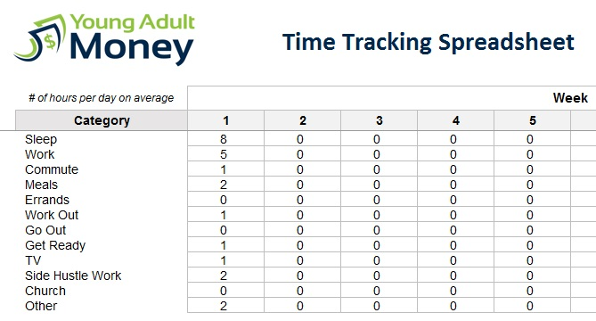 time tracking spreadsheet young adult money. Black Bedroom Furniture Sets. Home Design Ideas