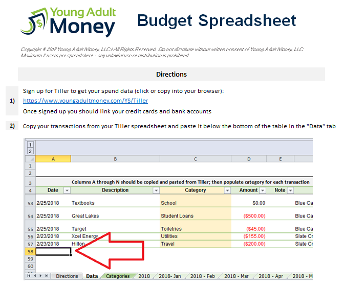 An Automated Budget Spreadsheet in Excel Young Adult Money