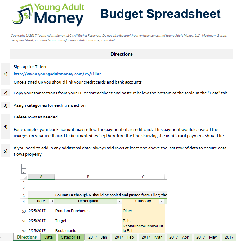 Automated Budget Spreadsheet Directions