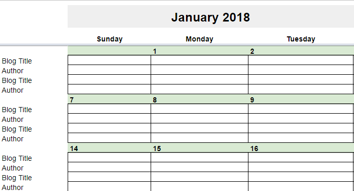 2018 Editorial Calendar in Google Sheets | Young Adult Money