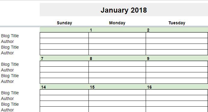 2018 monthly calendar google docs