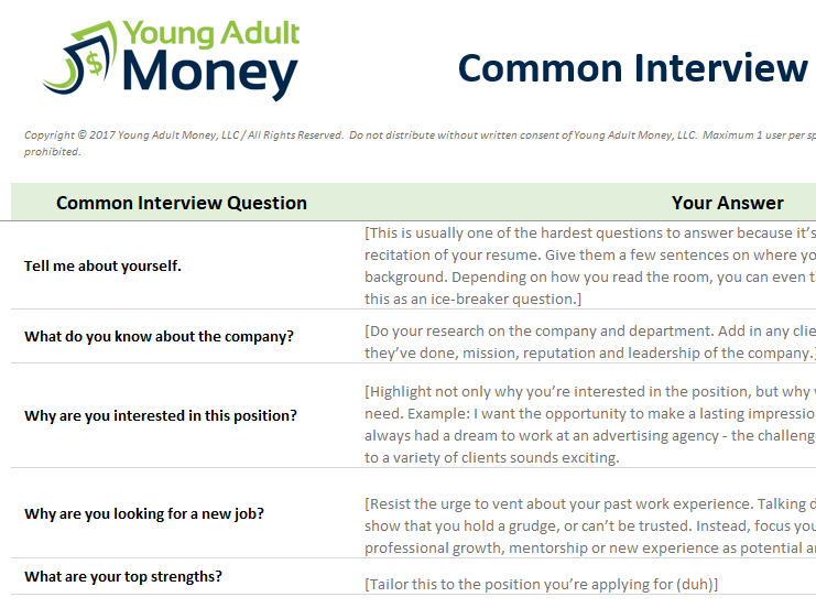 Common Interview Questions   YAM  Common Interview Questions