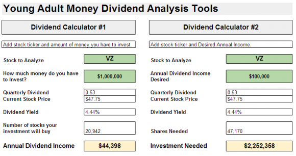 Young Adult Money Dividend Analysis Tool