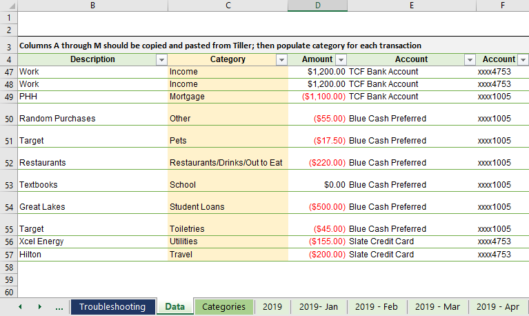 Automated Budget Spreadsheet in Excel | Young Adult Money