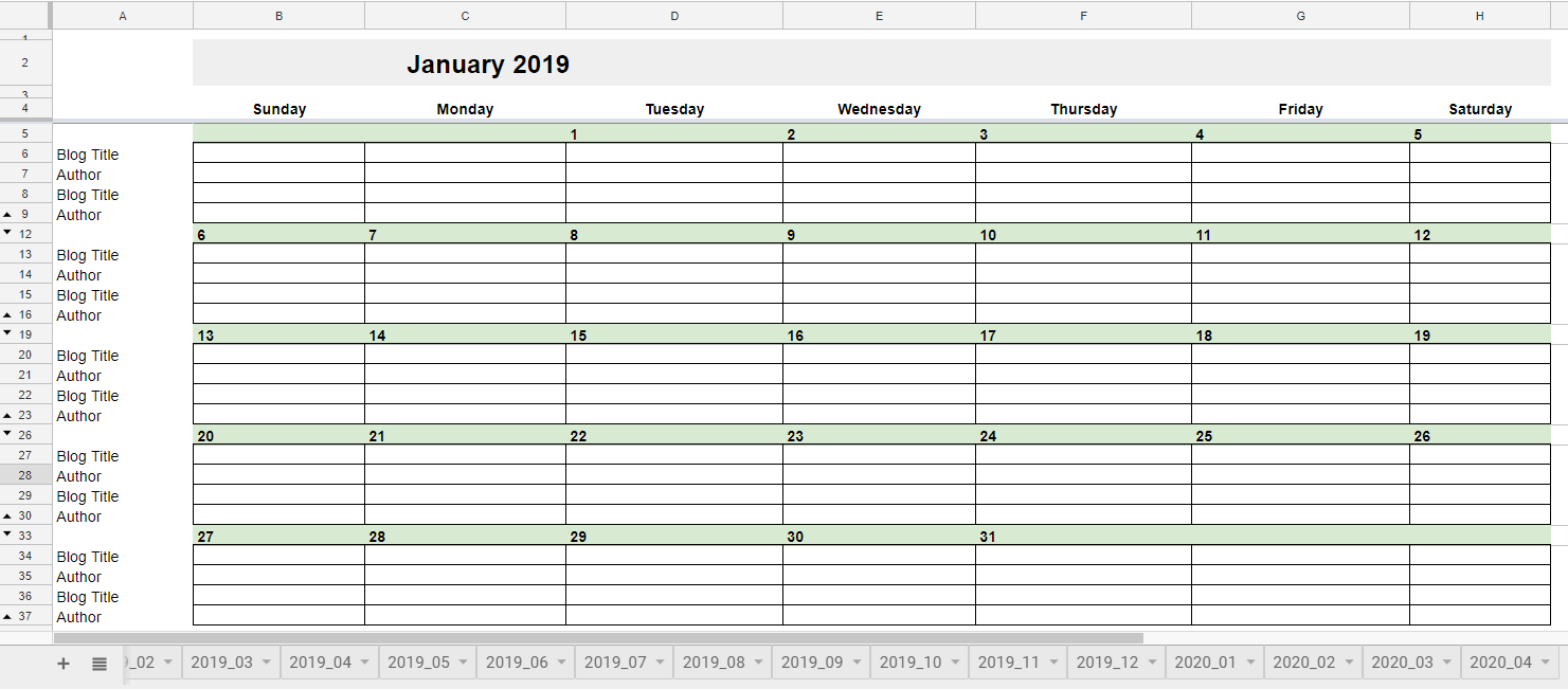 Free 2019 Editorial Calendar In Google Sheets Young Adult