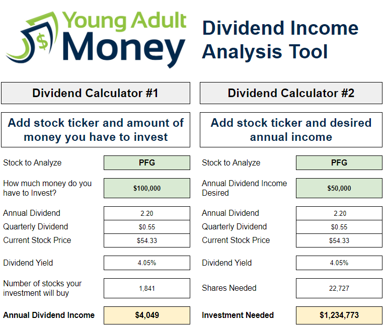Dividend Income Analysis File Live Off Dividends